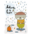 bear standing in the rain in a puddle fall vector image