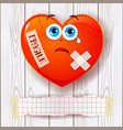 broken heart on wooden background and copy space vector image
