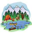 camping in woods cartoon vector image
