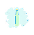 cartoon wine beer bottle icon in comic style vector image vector image