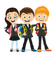cheerful school children with school backpacks vector image vector image