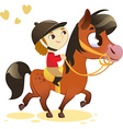 Child riding small horse vector | Price: 1 Credit (USD $1)