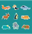 collection of cute cartoon animal stickers fox vector image vector image