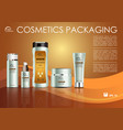 cosmetics template with creme in gold color vector image