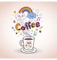 Cute cartoon coffee cup vector image vector image