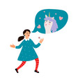 cute girl dreams about unicorn vector image vector image