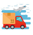 delivery service truck with airplane vector image vector image