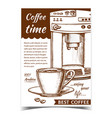espresso machine front view and cup banner vector image