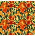Floral seamless pattern Red iris flower vector image vector image