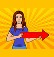 girl holding red arrow pop art style vector image