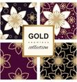 Golden Luxury flower pattern set vector image