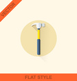 hammer in a flat style with shadow vector image vector image