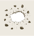 hole in crushed wall damage ground vector image