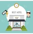 hotel building five stars icon vector image vector image