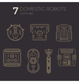 icons set of domestic robots in line art vector image vector image