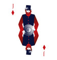 jack of diamonds with a top hat holding a shield vector image vector image