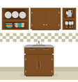 kitchen room scene icons vector image