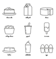 Line art dairy icon set Infographic elements vector image