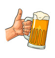 male hand holding beer glass and showing symbol vector image vector image