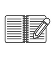 notebook with pencil linear icon vector image