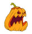 orange pumpkin with mug on white background vector image vector image