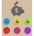 Piggy bank - saving money icon with color vector image