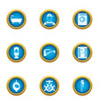 pipe repair icons set flat style vector image vector image