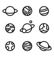 planets linear icons isolated universe concept vector image vector image