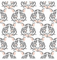 seamless pattern with tiger heads fashion vector image vector image