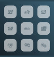 search icons line style set with social media vector image