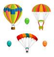 set colorful air balloon and parachutes vector image