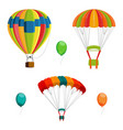 set of colorful air balloon and parachutes vector image