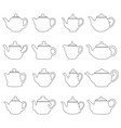 set of outlines of teapots vector image
