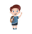 smiling little boy with backpack vector image vector image