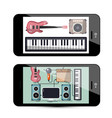 sound and music app with keyboard guitar and vector image vector image