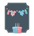 square frame and babirthday elements vector image vector image
