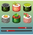 Sushi set icons vector image