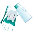 Tooth Superman holds toothpaste and toothbrush vector image