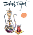 turkish teapot vector image vector image