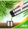 vacuum flask hand realistic vector image