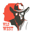 wild west cowboy portrait man in bandanna mask vector image