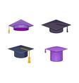 graduation hat icon set cartoon style vector image