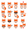 Fox cute character icons wildlife vector image