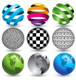 9 globes in editable format vector image