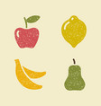 apple lemon banana and pear stylized images of vector image vector image