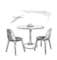Cafe or kitchen interior Table and chair sketch vector image