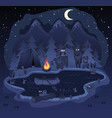 camping in woods at night cartoon vector image vector image