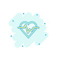 cartoon heartbeat line with heart icon in comic vector image