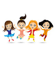 cheerful girlfriends in a jump vector image vector image