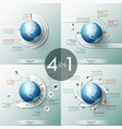 collection of 4 infographic design templates with vector image vector image